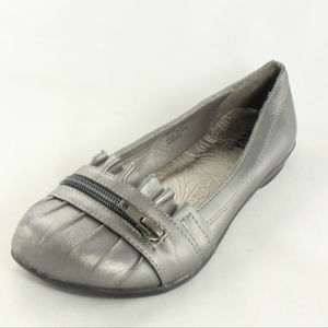 cd9673606e3 Soda Shoes - SODA Metallic Gray Leather Loafer Style Flats
